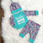 Newborn Baby Boys Girls Christmas Clothes Tops Romper Pants Hat Outfits Bodysuit