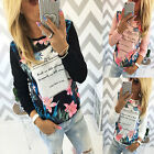 Womens Floral Print Shirt Long Sleeve Summer Casual Blouse Tops T-shirt Shirt AU