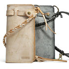 Real Leather Wallet Bifold Purse Phone Case Passport Card Holder Pouch W/ Strap