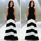 Women Boho Sleeveless Stripe Summer Chiffon Party Evening Beach Skirt Maxi Dress
