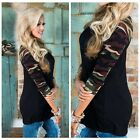 Fashion Sexy Womens 3/4 Sleeve Round Neck Casual T-Shirts Tee Solid Tops Blouse