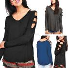New Women Ladies Casual Long Sleeve Tops Loose Cold Shoulder Blouse Lace T-Shirt