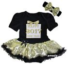Baby Happy 2017 New Year Gold Gift Black Gold Bodysuit Tutu Dress
