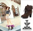 Womens platform high heel shoes vintage Fur Lined Motorcycle Boots Martin Boot S