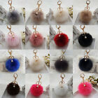Rabbit Fluffy Fur Pearl Ball Pom Phone Car Pendant Handbag Key Chain Ring