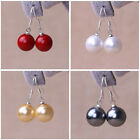 14mm Round White black red gold south sea shell pearl dangle earrings AAA Grade