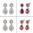 Red Garnet&white Zircon wedding drop dangle pierced earring in 18k gold filled