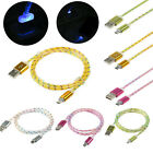 1M Over 2A Quick Glow Light Up LED Crystal Micro USB Charger Data Sync Cable Lot