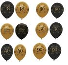 "Black & Gold - 6 x 12"" LATEX BALLOONS (Birthday Party Decorations/Age/Number)"