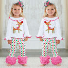 Cute Baby Kids Girl Christmas Sleepwear Pj's Pajamas Set 1-6Years Clothes Outfit