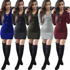 Womens Night Out Bodycon Dress Long Sleeve Pullover Sweater Ladies Dress