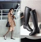 Chic Military Women Leather Low Heels Knee High Boot Zip Buckle Knight Shoe Size