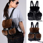 Women's Mink Fur Backpack Travel Leather Handbag Rucksack Shoulder School Bag