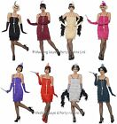 8-26 Flapper Costume Feather Headband Long Gloves Ladies 20s Fancy Dress Outfit