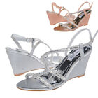 SheSole Ladies gladiator sandals wedge wedding heels silver evening dress shoes