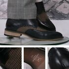 Justin Reece 4 Hole Leather Lace Up Brogue With Check Fabric Design Navy