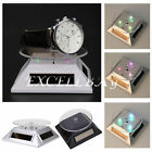Solar Showcase 360 Turntable Rotating Jewelry Watch Phone Ring Display LED Stand