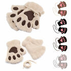 Women Girl Cat Claw Paw Winter Soft Plush Half Finger Fingerless Warm Gloves UK