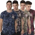 Juice Mens Camo Print T-Shirt Crew Neck Top Short Sleeve Tee Badges Size S-XL