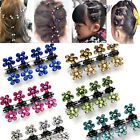 12 PCS Lots Girls Sweet Rhinestone Crystal Flower Mini Hair Claws Clips Clamps