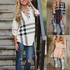 Womens Blouse Striped Plaid Long Sleeve Ladies Top T Shirt Loose Casual Tops UK