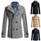 Fashion Men Slim Fit Long Winter Warm Double Breasted Peacoat Jacket US SIZE