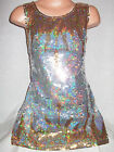 GIRLS 60s STYLE SILVER GOLD ICICLE PATTERN SEQUIN EVENING DANCE PARTY DRESS