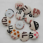 Fabric Covered Buttons - 10 Count - Letters Text Typography - 14mm / 19mm / 28mm