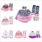 4PCS Baby Girl 1st Birthday Floral Romper Headbands Tutu Dress Party Outfit Sets