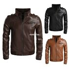 Casual Zeagoo Biker Motorcycle Jacket Men Slim Outerwear Synthetic Leather Coats