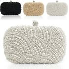 Women Pearl Beaded Clutch Bag Handbag Satchel Diamond Cocktail Hand Bag EN24H
