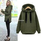 Women's Coat Zips Hem Long Sweatshirt Hooded Hoodie Jacket Outwear Sz S M L Hot