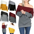 Womens Off The Shoulder Ladies Oversized Block Stripe Baggy Chunky Knit Jumper
