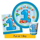 FUN AT ONE 1st Birthday BOY Blue Party Range - Tableware Balloons & Decorations