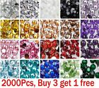 2000 Choose Colour Crystal Flat Back Nail Art Face Festival Rhinestones Gems