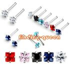 1x Punk Stainless Steel 20g 3mm Square Clear CZ Gem Nose Bone Ring Stud Piercing