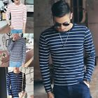 New Men Striped T-shirt Long Sleeve Casual Crew Neck Tops Basic Tee Blouse BKB