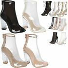 New Women Clear Perspex Block Chunky Heel Fashion Shoes Open Toe Booties Boots