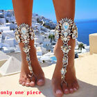 Crystal Foot Anklet Bracelet Yoga Dance Barefoot Sandals Chunky Chain Jewelry
