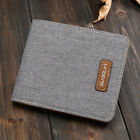 Men Canvas Slim Bifold Purse Wallet Clutch Handbag Credit Card Holder Billfold