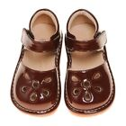 Girl's Leather Toddler Brown Petal Patent Style Squeaky Shoes Sizes 1 to 5