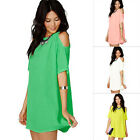 Women's Loose Chiffon T Shirt Tops Short Sleeve Off Shoulder Casual Blouse 4 Col