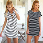 Women Casual Dress Crew Neck Short Sleeve Striped Loose T-Shirt Mini Dress JR
