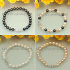 s037 AA 7-8mm white pink black ploychrome cultured pearl bracelets,best gift