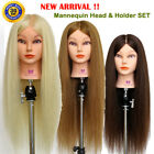"UK 28"" 90% Real Hair Hairdressing Training Head Hairdressing Mannequin Doll SET"