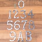 """Chrome 50mm/2"""" Door Numbers / Letters & Screws House Numerals Home Front A B"""
