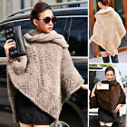 Women Luxury Scarves Wraps  Real Farm Knitted Mink Fur Poncho Cape Coat Stole