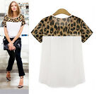 Summer Plus Size Ladies Leopard Chiffon Women Short Sleeve Tops T-Shirt Blouse Y