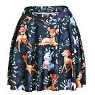 Lovely Women  Lovely small deer printed mini Skirt S-4XL pleated skirt
