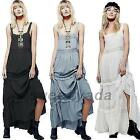 Maxi Peasant Garden Party Dress Boho Evening Prom Gown Gypsy Beach Slip Dresses